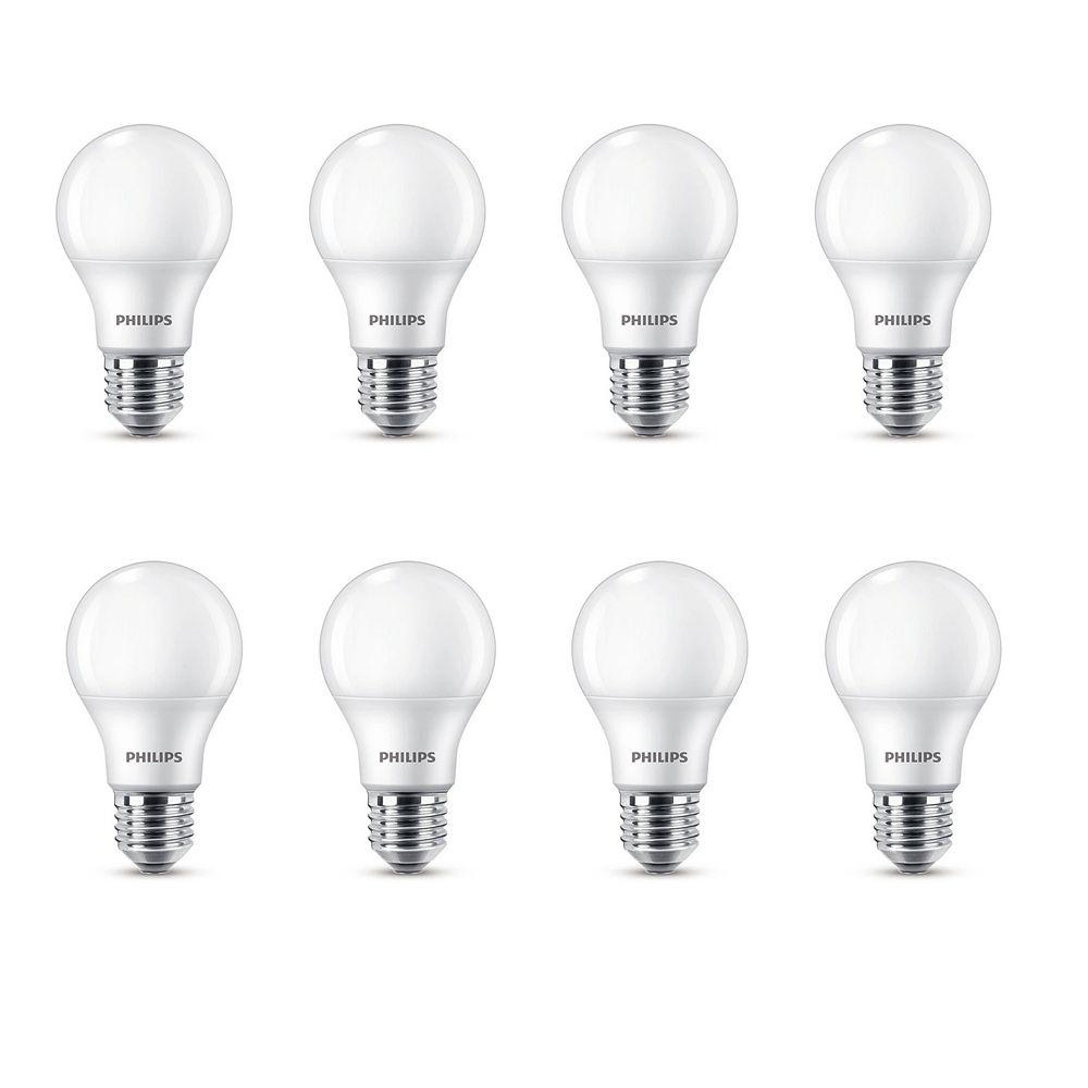 Philips Ampoule DEL de type A A19, équivalence de 60 W, 2 700 K, blanc doux, ens. de 8