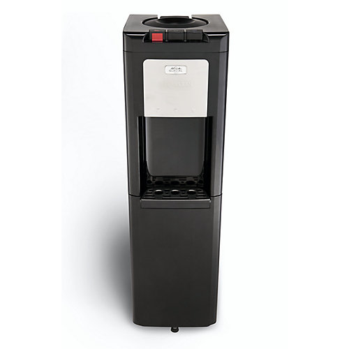 Black Top Load Water Cooler With True Refrigerated Bottom Storage.