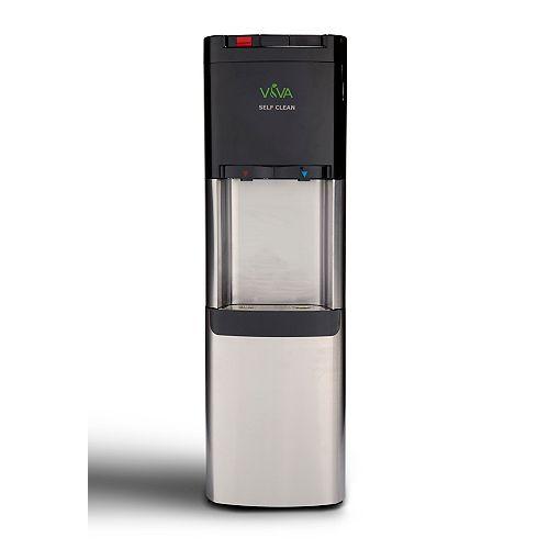 Refroidisseur d'eau à chargement par le haut en acier inoxydable avec eau chaude et froide.