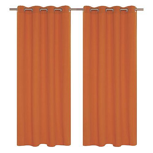 Karma panneaux à oeillets faux coton (une paire)  54 x 95 po, orange
