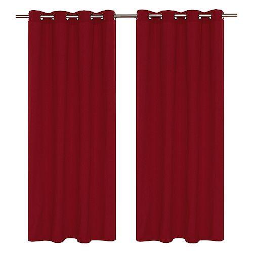 """paire de rideaux en 54x95"""" Rouge cerise"""