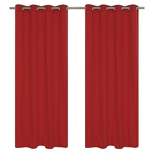 Karma panneaux à oeillets faux coton (une paire)  54 x 95 po, rouge rhubarb