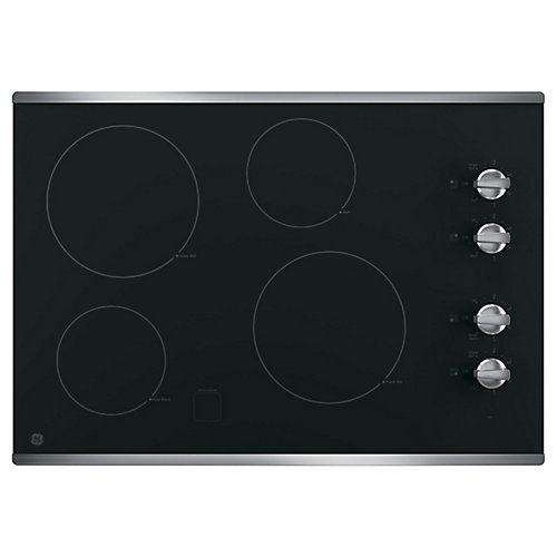 30-inch W Smoothtop Electric Cooktop with 4 Elements including Power Boil in Stainless Steel