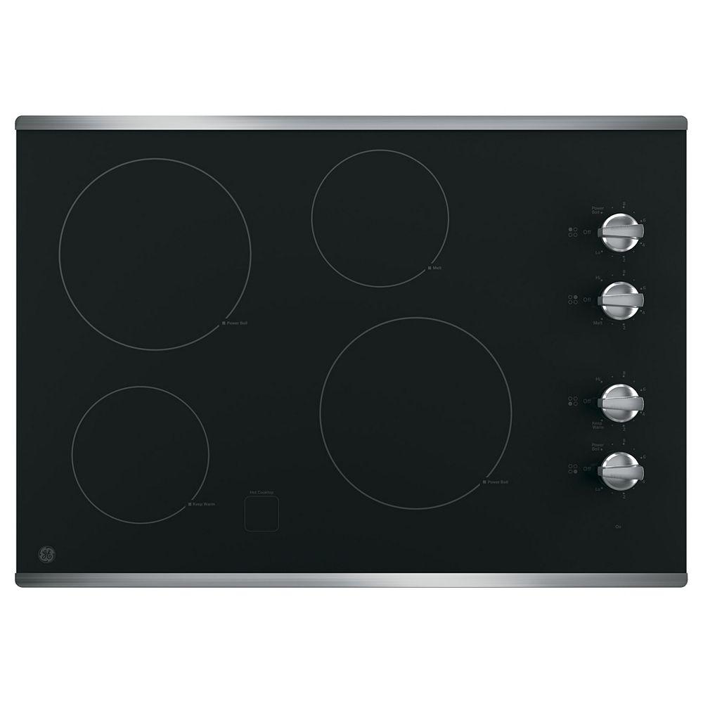 GE Table de cuisson électrique Smoothtop de 30 po W à 4 éléments, y compris le Power Boil en acier inoxydable