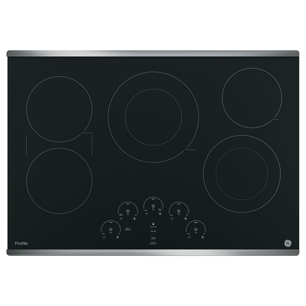GE Profile Table de cuisson électrique Smoothtop de 30 po avec 5 éléments en acier inoxydable