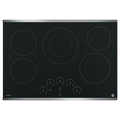 Table de cuisson électrique Smoothtop de 30 po avec 5 éléments en acier inoxydable
