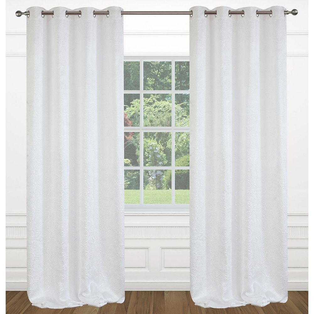 LJ Home Fashions Raindrops Abstract Floral Crushed Fabric Grommet Curtain Panels 54x95-in, White (Set of 2)