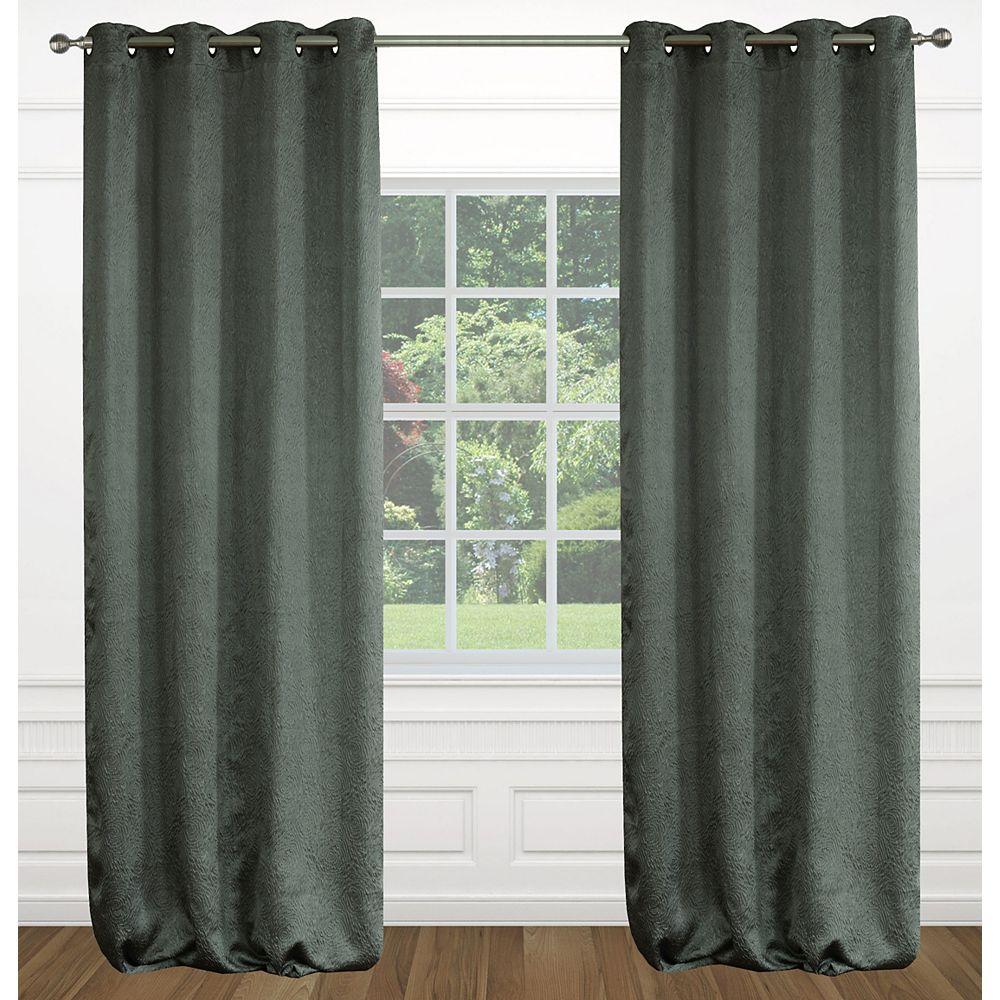 LJ Home Fashions Raindrops une paire de rideaux à illets effet soie texturé 54 x 95 po, gris fonce