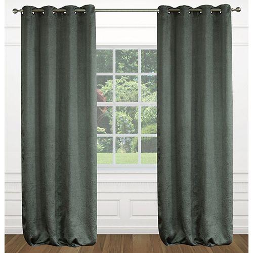 Raindrops une paire de rideaux à illets effet soie texturé 54 x 95 po, gris fonce