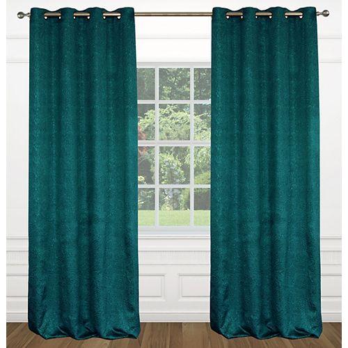 Raindrops une paire de rideaux à illets effet soie texturé 54 x 95 po, bleu ocean