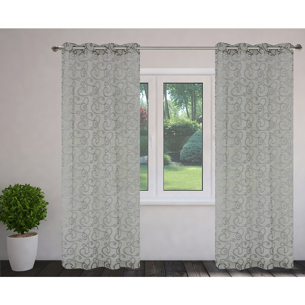 LJ Home Fashions Mystic Burnout 56x95-inch Grommet Curtain Set, Grey (2-Pack)