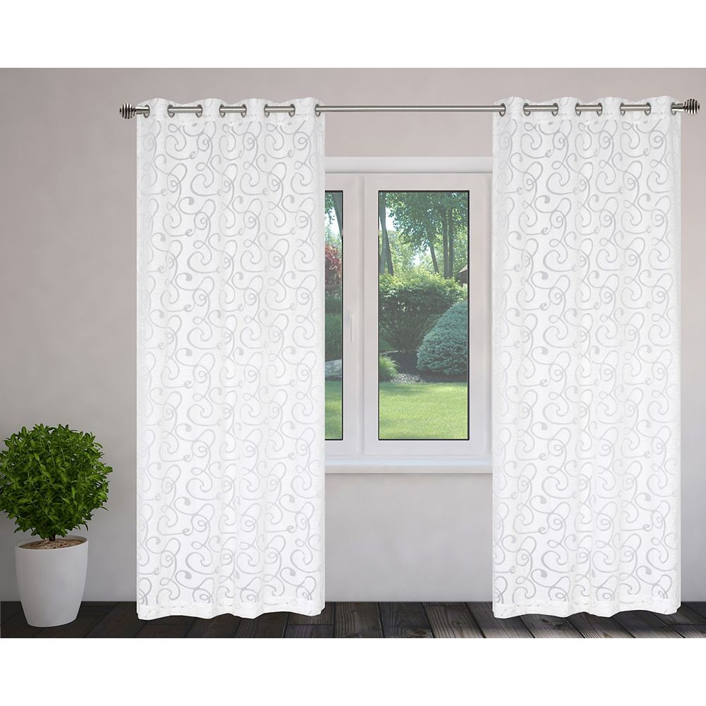 LJ Home Fashions Mystic Organza Scroll Burnout Grommet Curtain Panels 56x95-in, White (Set of 2)