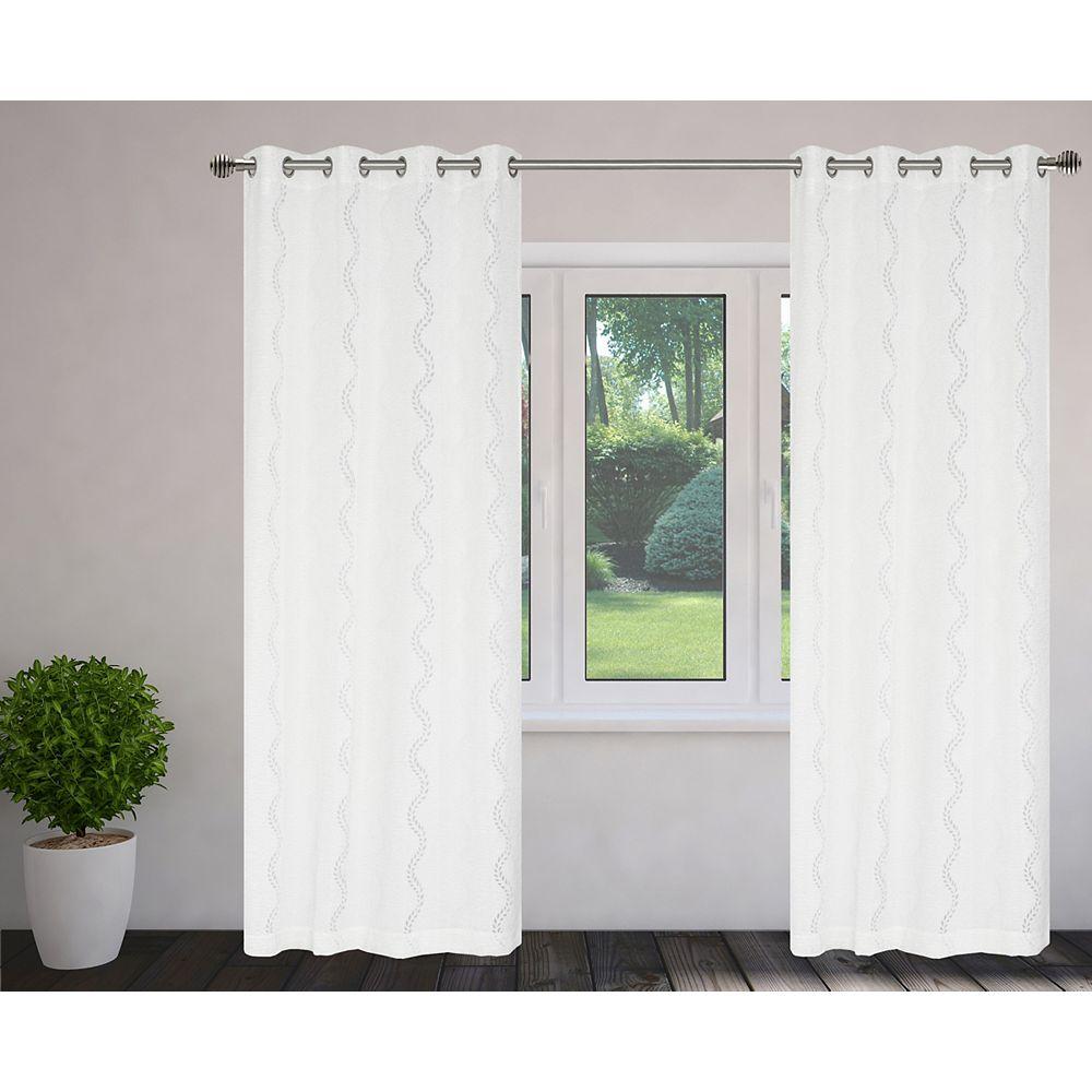 """LJ Home Fashions paire de rideaux à illets en tissu semi-voilage 56""""x95'' Blanc"""