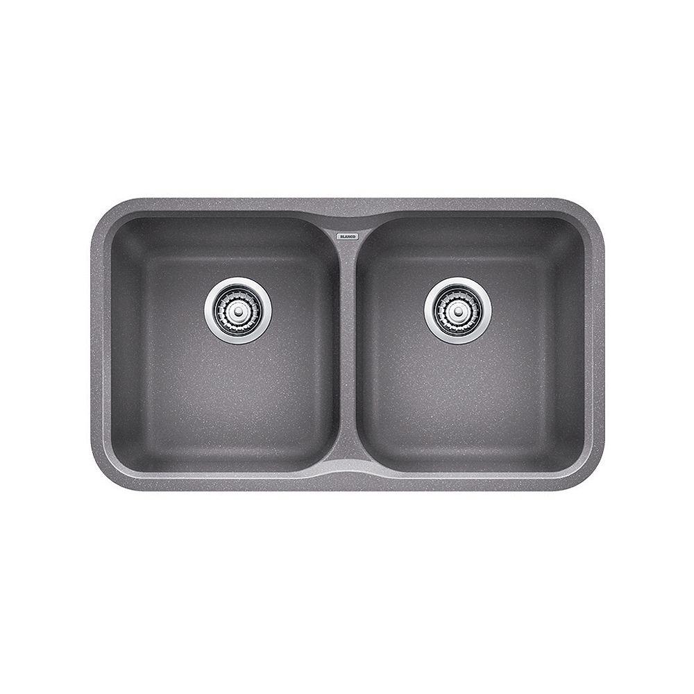 Blanco Évier de cuisine à montage sous plan et à deux cuves VISION U 2, SILGRANIT gris métallique