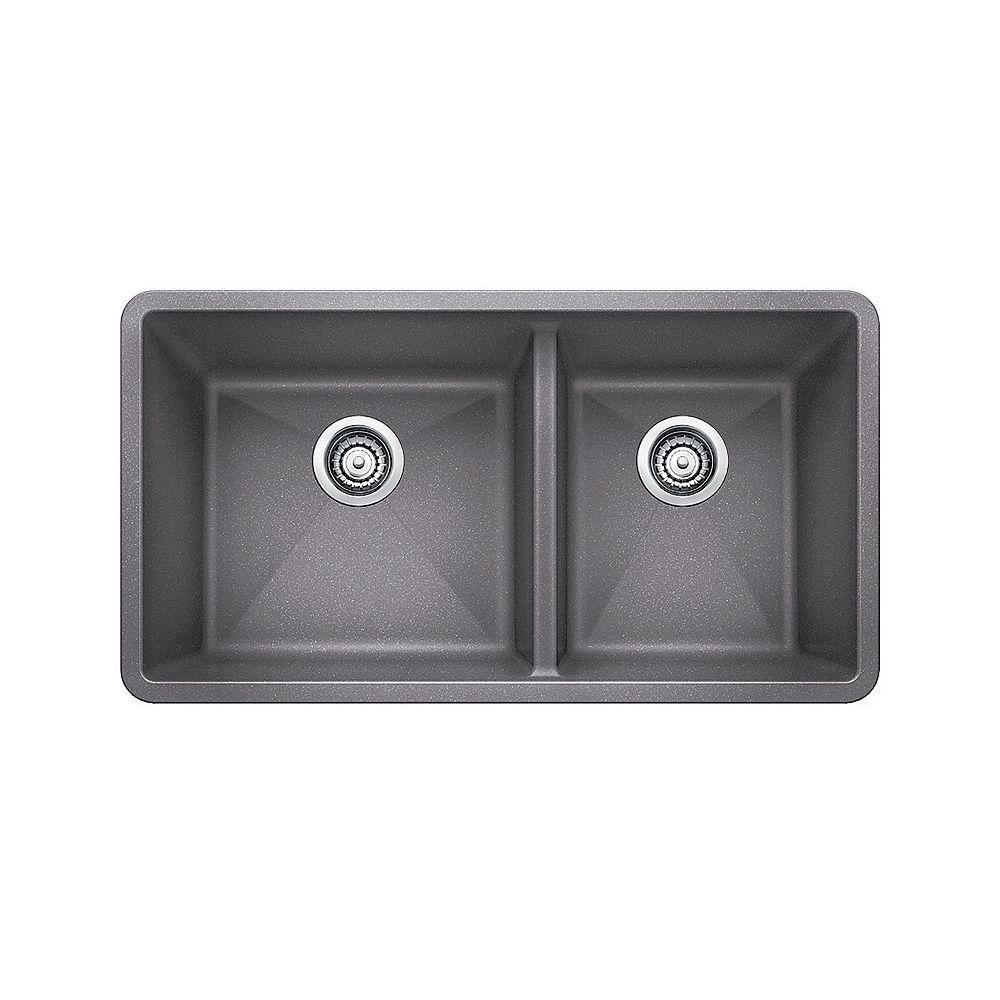 Blanco Évier de cuisine à montage sous plan et à deux cuves PRECIS U 1.75, SILGRANIT gris métallique