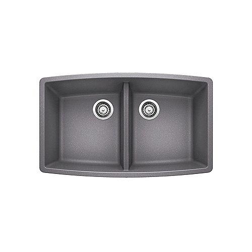 Blanco PERFORMA U 2, Equal Double Bowl Undermount Kitchen Sink, SILGRANIT Metallic Gray