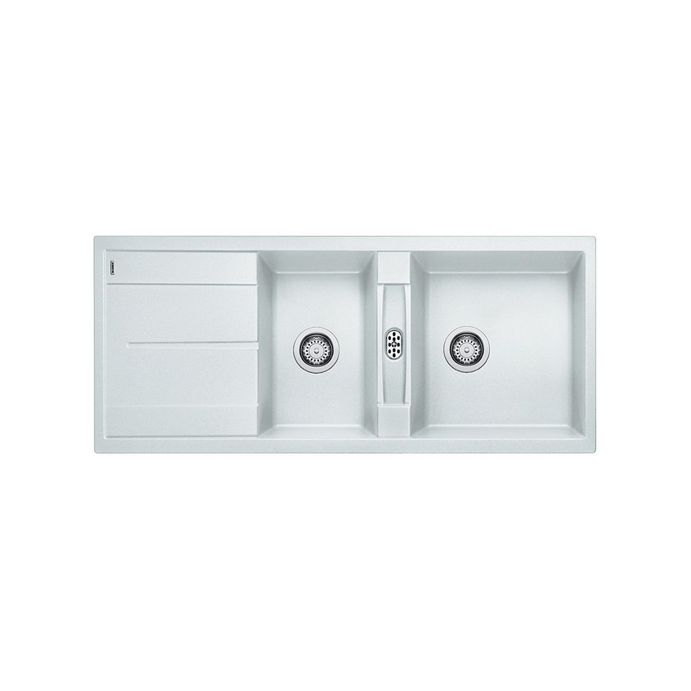 Blanco METRA 8 S, Double Bowl Drop-in Kitchen Sink with Drainboard, SILGRANIT White