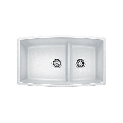 Blanco PERFORMA U 1.75 LOW DIVIDE, Offset Double Bowl Undermount Kitchen Sink, SILGRANIT White
