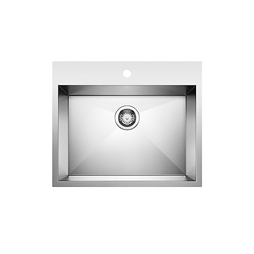 QUATRUS Drop-In 1-Hole Stainless Steel Single Bowl Kitchen Sink