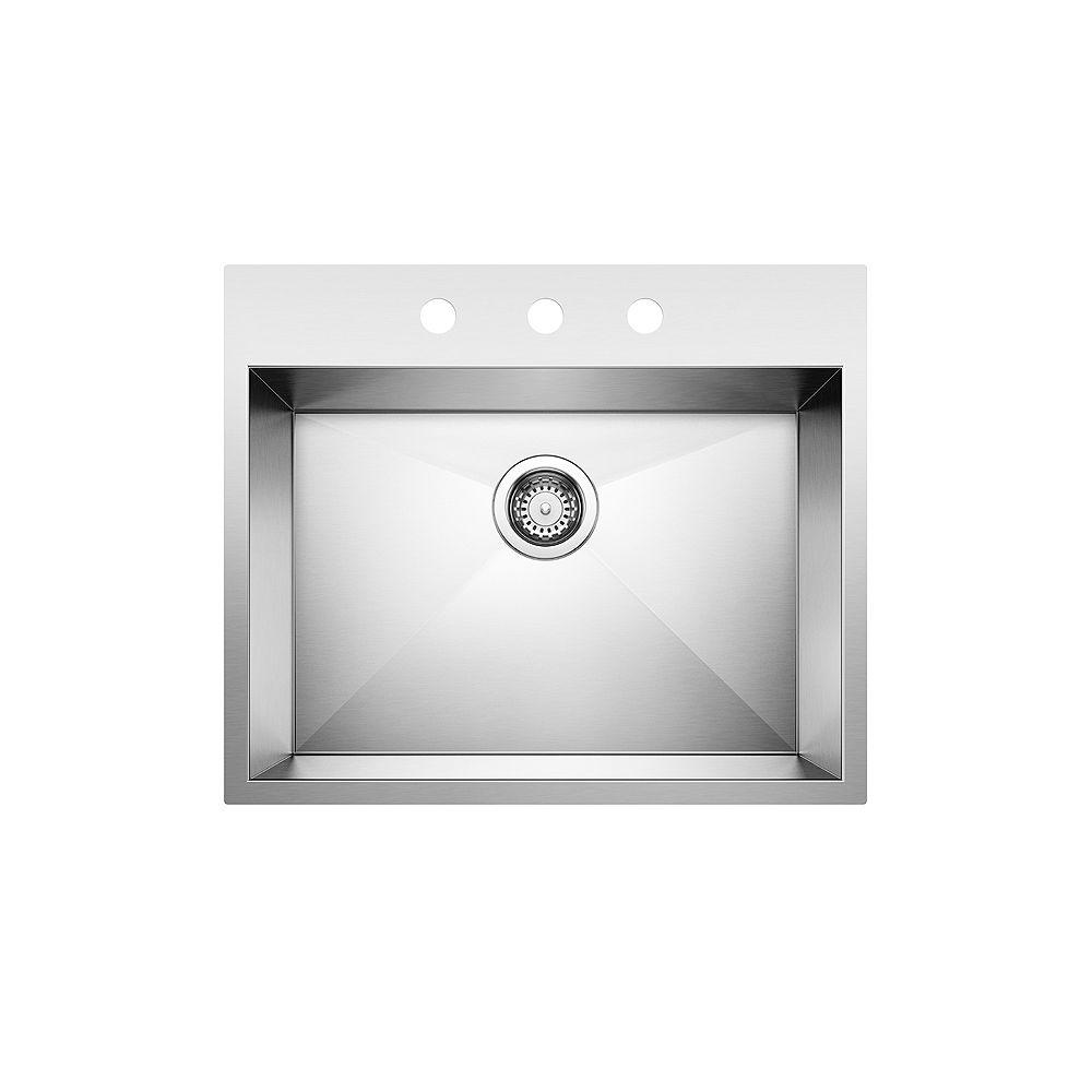 Blanco QUATRUS DROP-IN 1.0 (3 Holes), Single Bowl Kitchen Sink, Stainless Steel