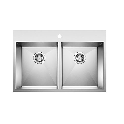 QUATRUS DROP-IN 2.0 (1 Hole), Equal Double Bowl Kitchen Sink, Stainless Steel