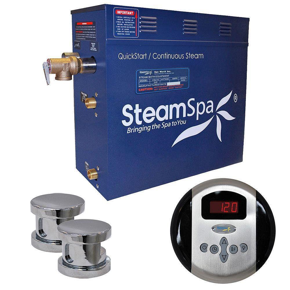 Steamspa Ensemble de générateur de vapeur de 10,5kW Oasis au fini chromé