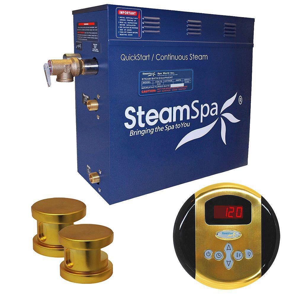 Steamspa Ensemble de générateur de vapeur de 12kW Oasis en laiton poli