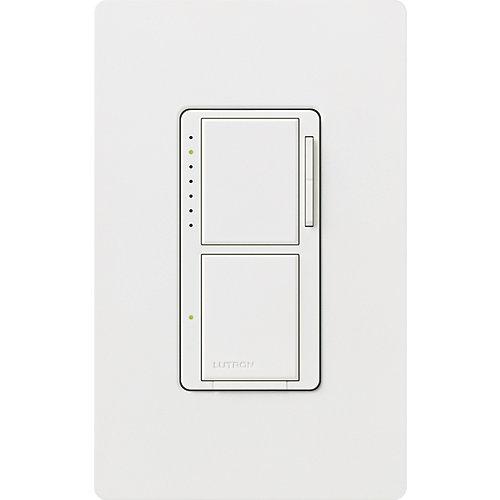 Maestro Dual de Lutron, Gradateur et Interrupteur Unipolaire 300-Watts, Blanc
