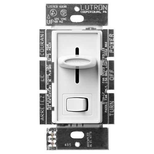 Skylark 1.5-Amp Singl- Pole 3-Speed Slide-to-off Fan and Light Control, White