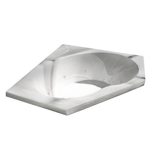 Quartz 5 Ft. Acrylic Drop-in Right Drain Corner Whirlpool Bathtub in White