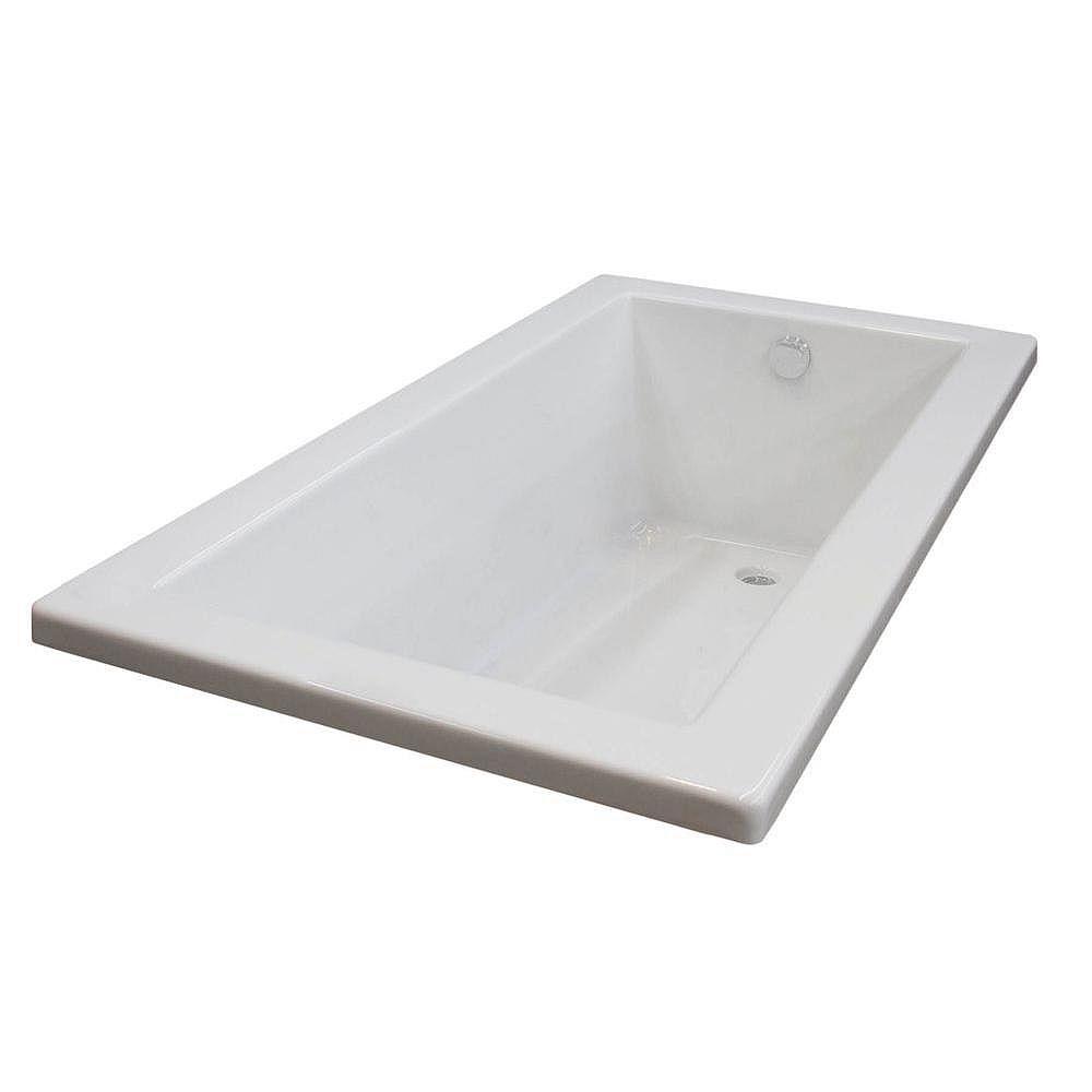 Universal Tubs Sapphire 5 ft. Acrylic Drop-in Reversible Drain Rectangular Bathtub in White