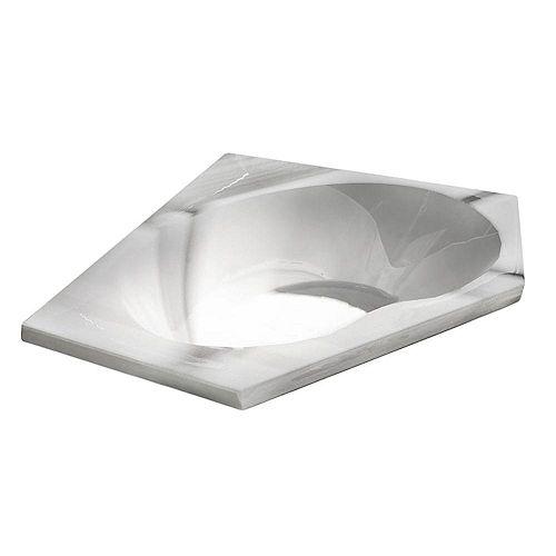 Quartz 5 Feet Acrylic Corner Drop-in Bathtub in White