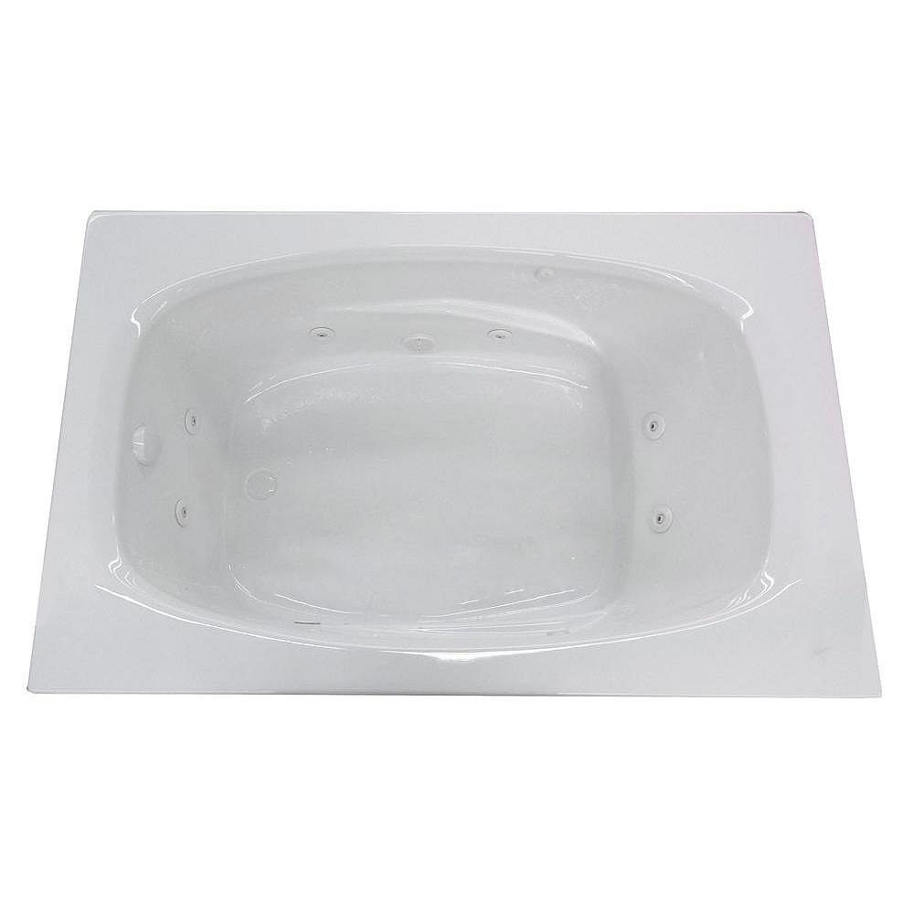 Universal Tubs Tiger's Eye 5 ft. 6-Inch Acrylic Drop-in Right Drain Rectangular Whirlpool Bathtub in White