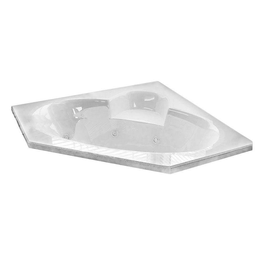 Universal Tubs Malachite 5 ft. Acrylic Corner Drop-in Whirlpool Bathtub in White