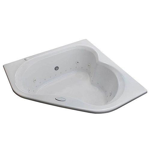 Beryl 5 Ft. Acrylic Drop-in Right Drain Corner Whirlpool and Air Bathtub in White