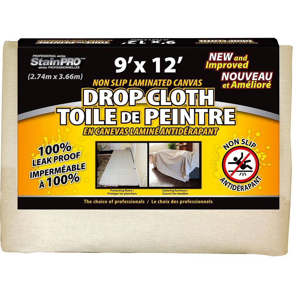 Stain Pro Non Slip Laminated Canvas Drop Cloth 9 Feet x 12 Feet - (2-Pack)