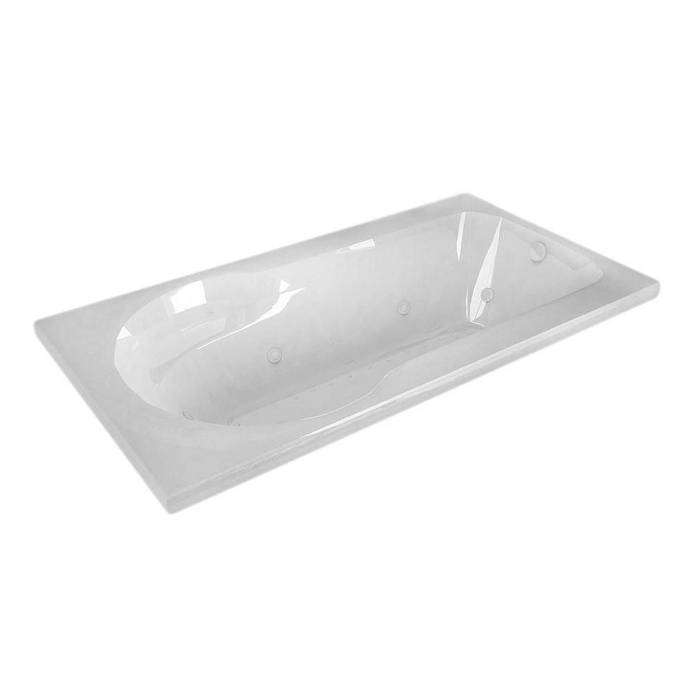 Universal Tubs Zircon Diamond 5 ft. Acrylic Drop-in Left Drain Rectangular Whirlpool and Air Bathtub in White