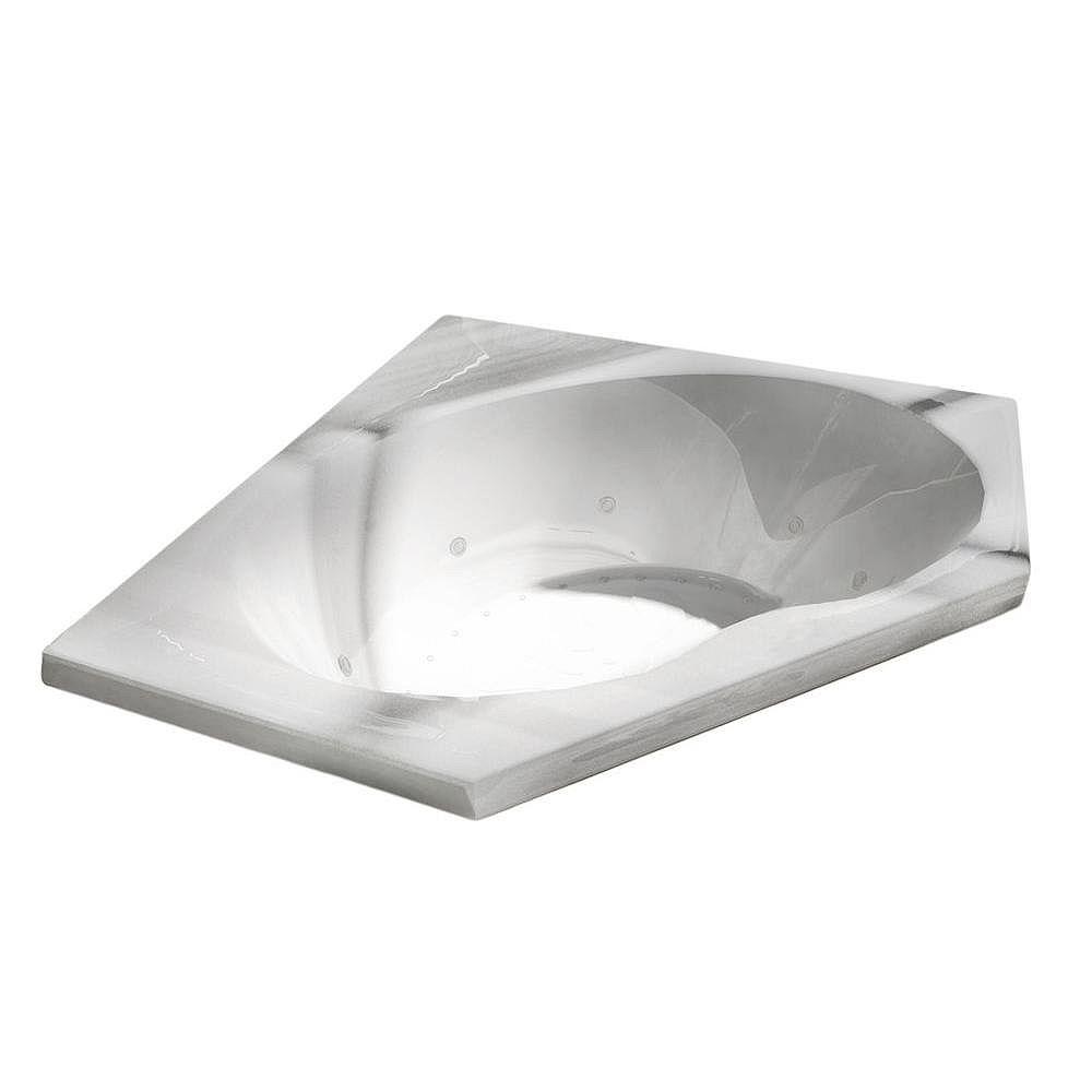 Universal Tubs Quartz Diamond 5 Ft. Acrylic Drop-in Right Drain Corner Whirlpool and Air Bathtub in White