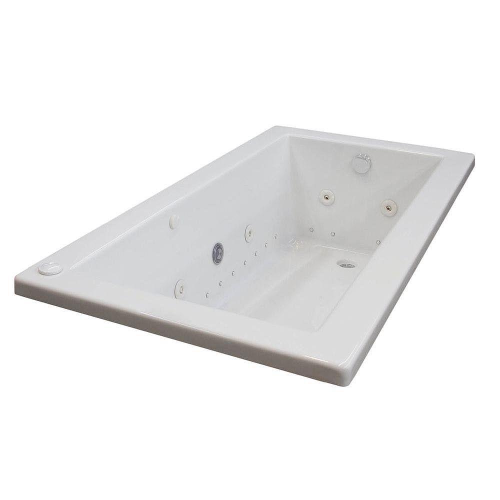 Universal Tubs Sapphire Diamond 5.6 ft. Acrylic Drop-in Left Drain Rectangular Whirlpool and Air Bathtub in White