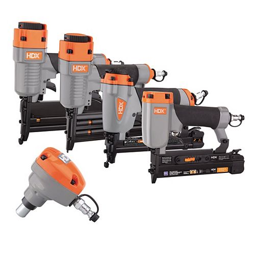 Pneumatic 5-Piece Finish Nail Gun Combo Kit