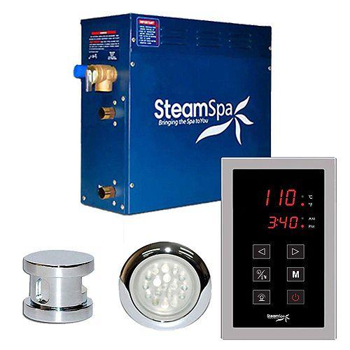 Steamspa Ensemble de générateur de vapeur de 7,5kW avec commande à effleurement Indulgence au fini chromé