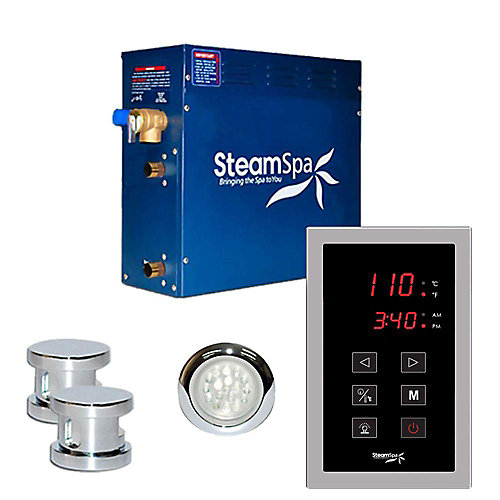 Indulgence 10.5kw Touch Pad Steam Generator Package in Chrome