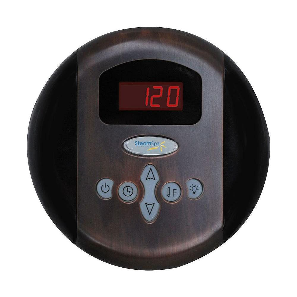 Steamspa Panneau de commande programmable avec heure et température au fini de bronze huilé