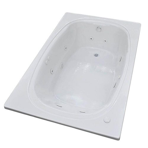 Peridot 6 Ft. Acrylic Drop-in Left Drain Oval Whirlpool Bathtub in White