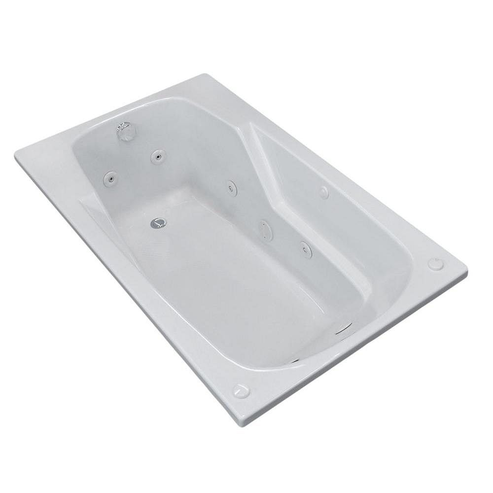 Universal Tubs Coral 6 ft. Acrylic Drop-in Right Drain Rectangular Whirlpool Bathtub in White