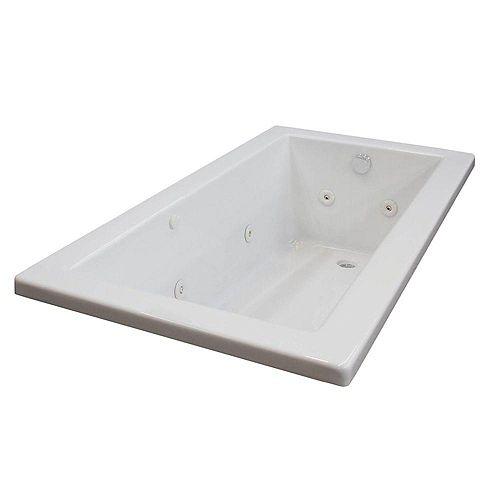 5 ft. Acrylic Drop-in Left Drain Rectangular Whirlpool Bathtub in White