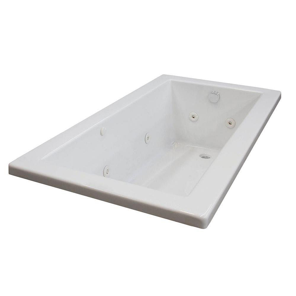 Universal Tubs Sapphire 5 ft. Acrylic Drop-in Left Drain Rectangular Whirlpool Bathtub in White