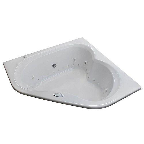 Universal Tubs Beryl Diamond 5 Ft. Acrylic Drop-in Left Drain Corner Whirlpool and Air Bathtub in White