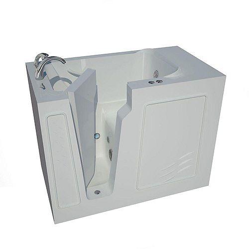 4 ft. 4-inch Left Drain Walk-In Whirlpool Bathtub in White
