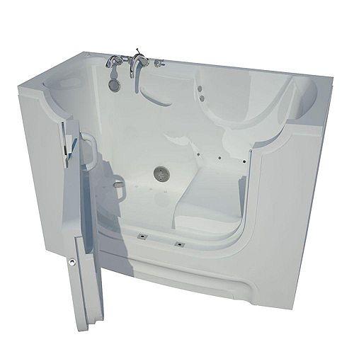 5 Ft. Wheelchair Accessible Left Drain Walk-In Air Bathtub in White